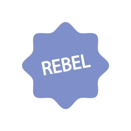 slang bubbles concept, seal stamp with rebel word icon over white background, line fill style, vector illustration