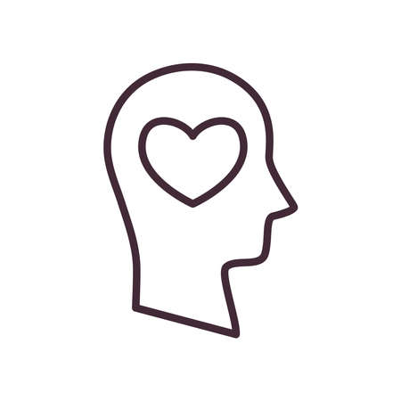 heart in volunteer head line style icon design of Charity and donation theme Vector illustration