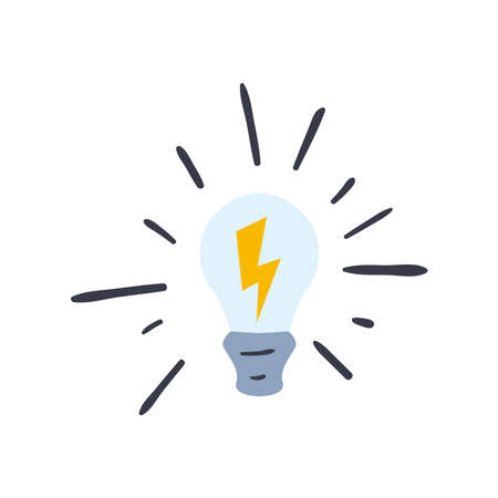 light bulb with thunder line and fill style icon design, Idea creativity genius and imagination theme Vector illustration