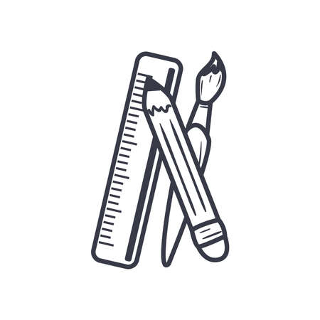 Pencil paint brush and ruler line style icon design, write office object instrument equipment draw art and learn theme Vector illustration