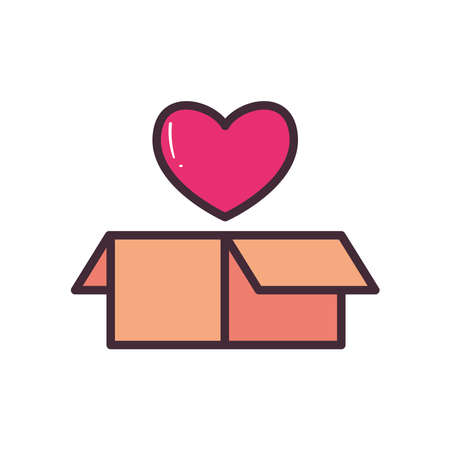box with heart line and fill style icon design of Charity donation and volunteer theme Vector illustration Ilustração