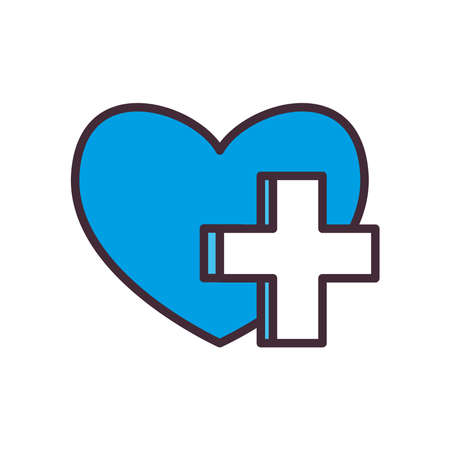 heart with cross line and fill style icon design of Charity donation and volunteer theme Vector illustration