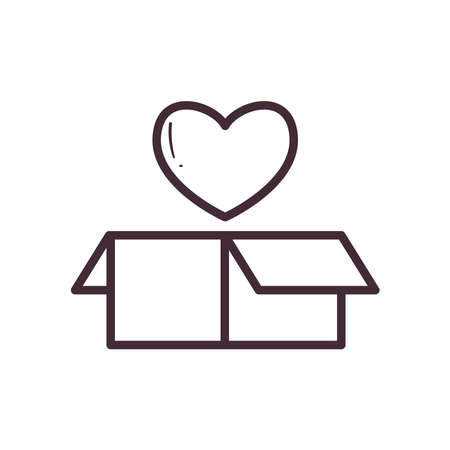 box with heart line style icon design of Charity donation and volunteer theme Vector illustration Ilustração