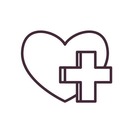 heart with cross line style icon design of Charity donation and volunteer theme Vector illustration