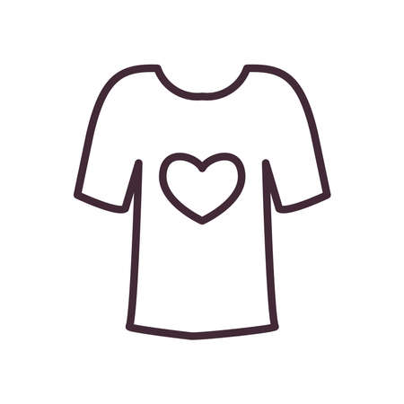 volunteer tshirt with heart line style icon design of Charity and donation theme Vector illustration