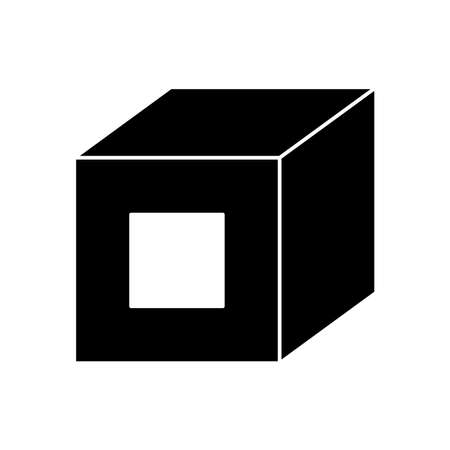 3d cube icon over white background, silhouette style, vector illustration