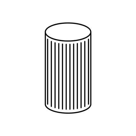 cylinder with striped design over white background, line style, vector illustration