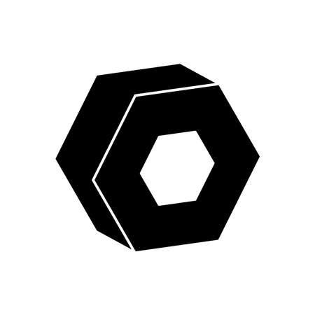 3d hexagon geometric shape over white background, silhouette style, vector illustration Ilustrace