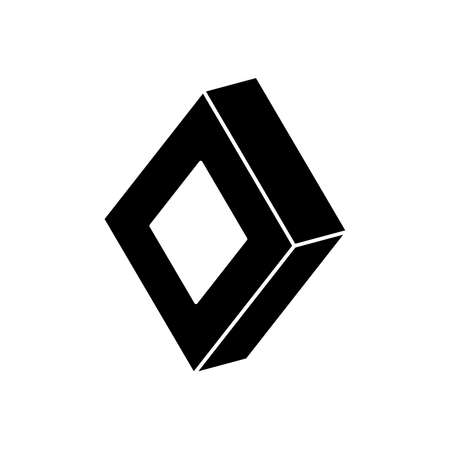geometric shapes concept, 3d rhombus icon over white background, silhouette style, vector illustration