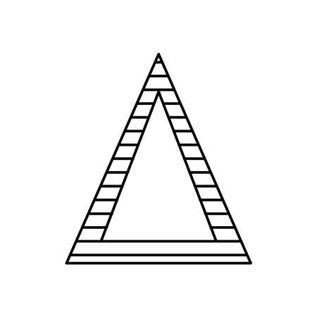 geometric shapes concept, triangle icon over white background, line style, vector illustration