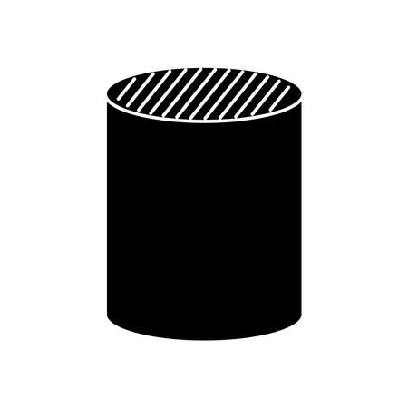 cylinder shape icon over white background, silhouette style, vector illustration Ilustrace
