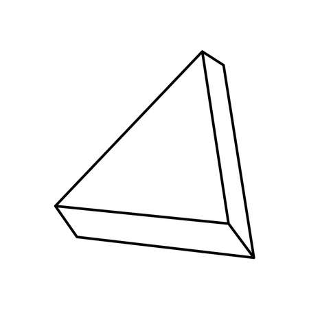geometric shapes concept, 3d triangle icon over white background, line style, vector illustration Ilustrace