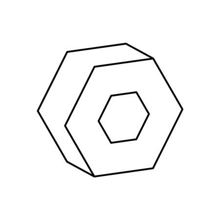 3d hexagon geometric shape over white background, line style, vector illustration