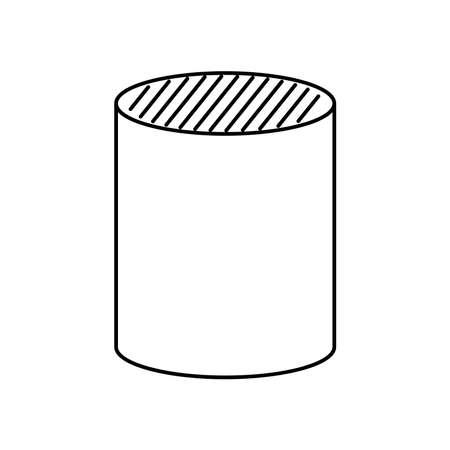 cylinder shape icon over white background, line style, vector illustration