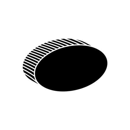 3d ellipse shape icon over white background, silhouette style, vector illustration Ilustrace