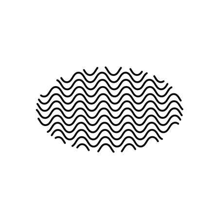 geometric shapes concept, ellipse shape with wavy lines design over white background, line style, vector illustration