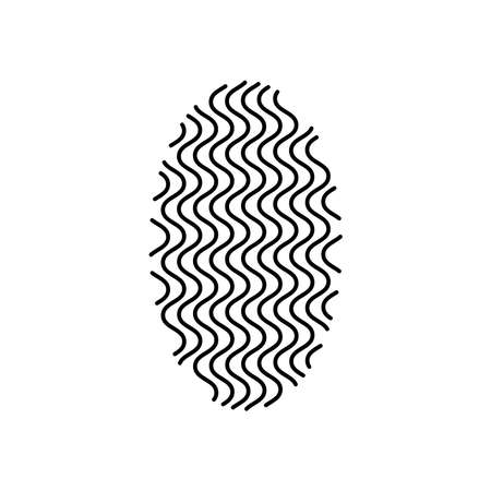 geometric shapes concept, vertical ellipse shape with wavy lines design over white background, silhouette style, vector illustration Ilustrace