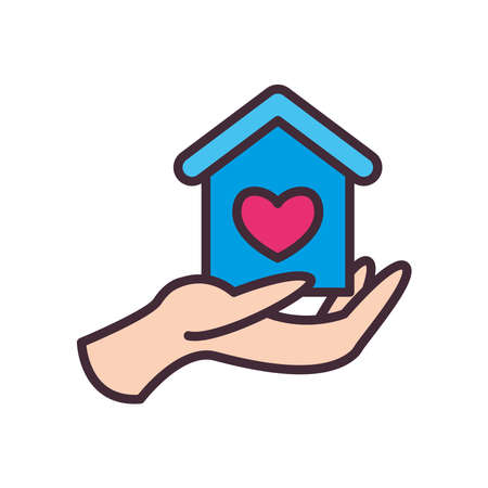 house with heart on volunteer hand line and fill style icon design of Charity and donation theme Vector illustration
