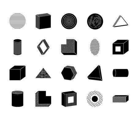 icon set of cube and geometric shapes over white background, silhouette style, vector illustration