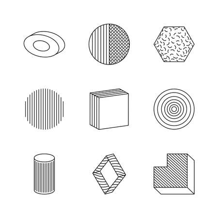 ring and geometric shapes icon set over white background, silhouette style, vector illustration