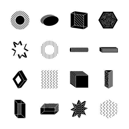 hexagon and geometric shapes icon set over white background, silhouette style, vector illustration Ilustrace