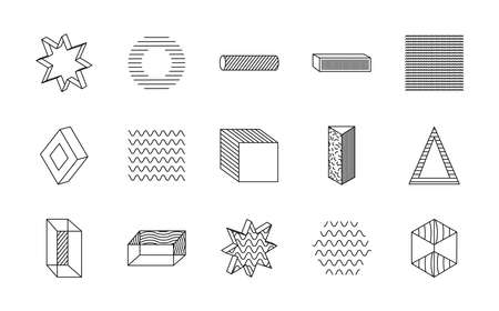cube and geometric shapes icon set over white background, line style, vector illustration Ilustrace