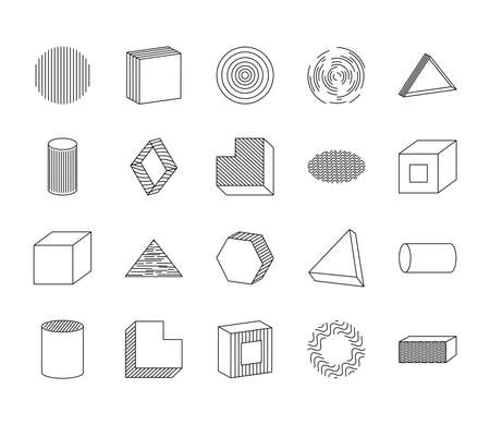 icon set of cube and geometric shapes over white background, line style, vector illustration