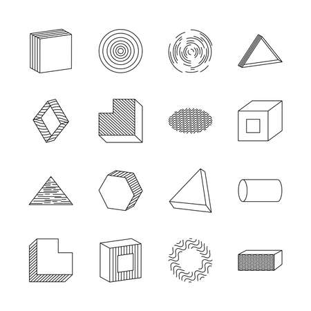 icon set of cylinder and geometric shapes over white background, line style, vector illustration