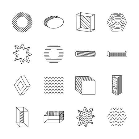 hexagon and geometric shapes icon set over white background, line style, vector illustration