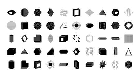 icon set of geometric shapes over white background, silhouette style, vector illustration Ilustrace
