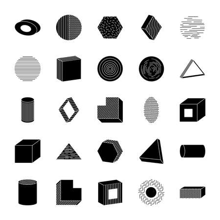 icon set of ellipses and geometric shapes over white background, silhouette style, vector illustration Ilustrace