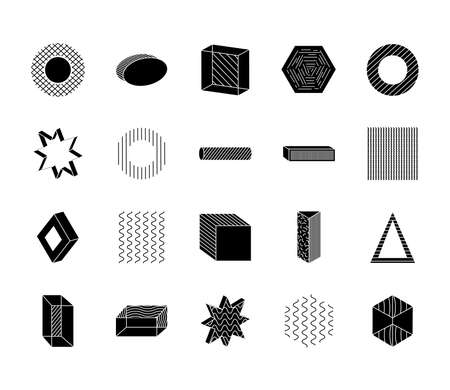 triangles and geometric shapes icon set over white background, silhouette style, vector illustration