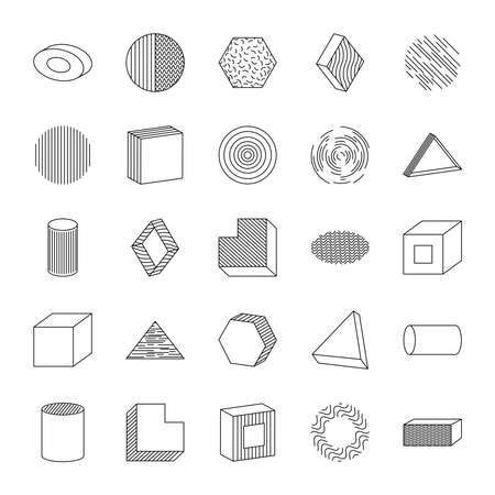 icon set of ellipses and geometric shapes over white background, line style, vector illustration
