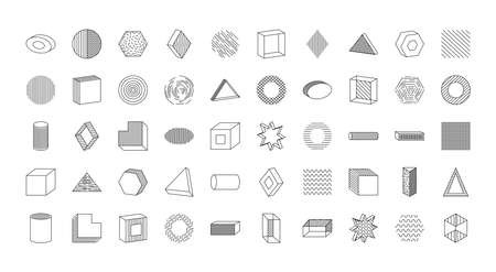 icon set of geometric shapes over white background, line style, vector illustration