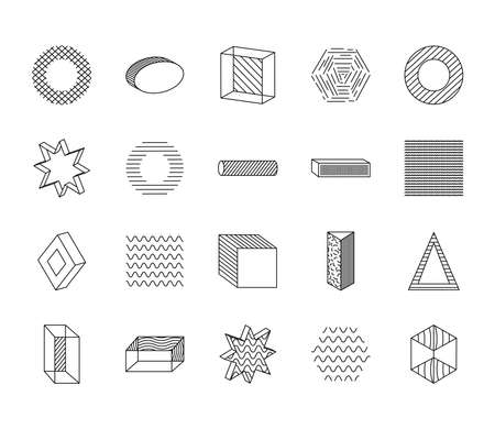 triangles and geometric shapes icon set over white background, line style, vector illustration