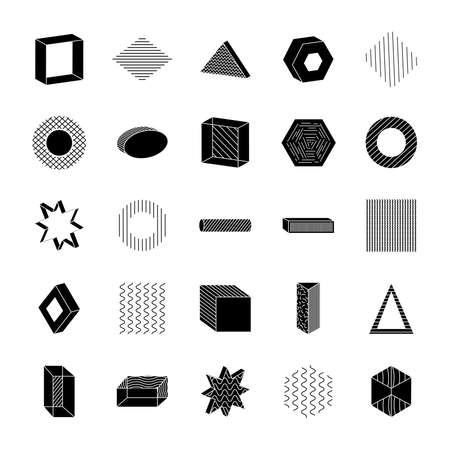 geometric shapes with abstract design icon set over white background, silhouette style, vector illustration