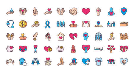 line and fill style 50 icon set design of Charity donation and volunteer theme Vector illustration