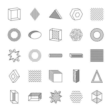 geometric shapes with abstract design icon set over white background, line style, vector illustration
