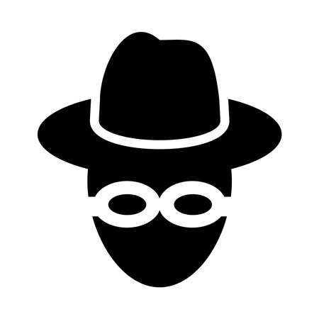 cyber security concept, hacker man with hat over white background, silhouette style, vector illustration Ilustrace