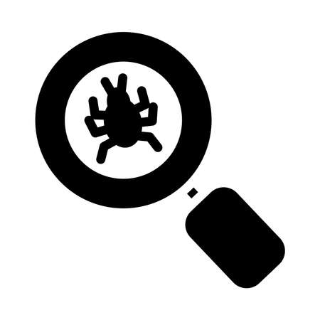 magnifying glass with bug icon over white background, silhouette style, vector illustration Ilustrace