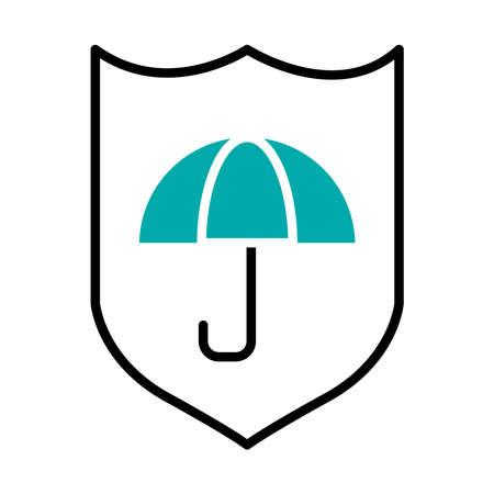 shield with umbrella icon over white background, half line half color style, vector illustration Vectores