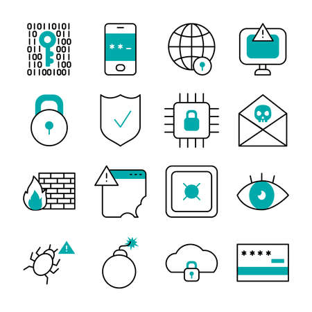 bomb and cyber security icon set over white background, half line half color style, vector illustration
