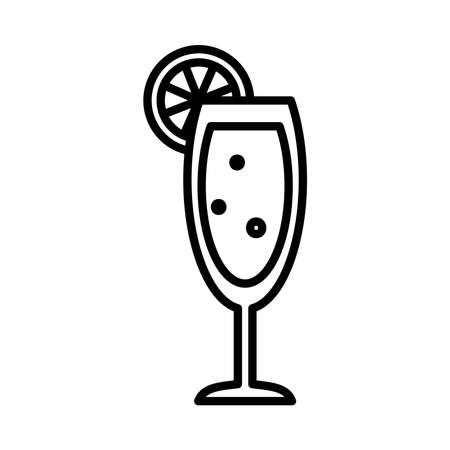 mimosa cocktail icon over white background, line style, vector illustration