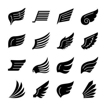 falcon wings and wings icon set over white background, silhouette style, vector illustration