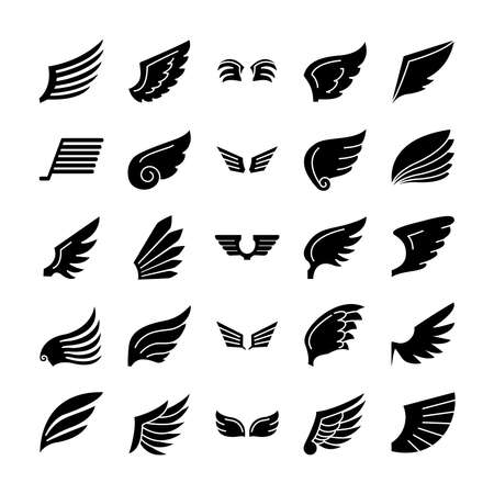 icon set of wings and falcon wings over white background, silhouette style, vector illustration