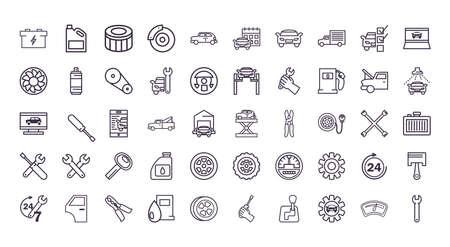 line style icon set design, Repair service car and vehicle theme Vector illustration Vecteurs