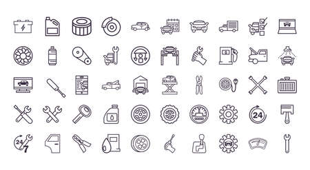 line style icon set design, Repair service car and vehicle theme Vector illustration