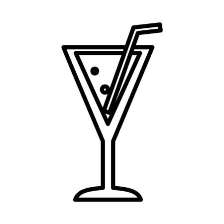 cocktail drink icon over white background, line style, vector illustration 일러스트