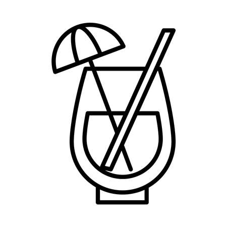 tropical cocktail drink icon over white background, line style, vector illustration