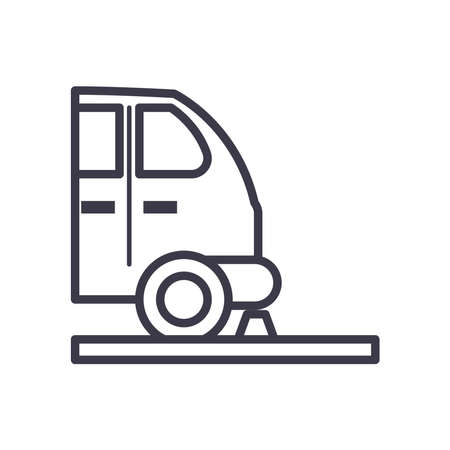 parked car side view line style icon design, Parking and transportation theme Vector illustration